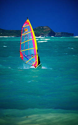 Windsurfer On The Shores Of Kailua Beach, Kailua, United States Of America Art Print by Ann Cecil