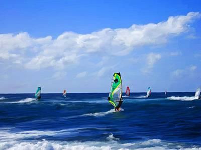 Surfers Mixed Media - Windsurfers At Hookipa Bay by Snake Jagger