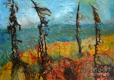 Mixed Media - Windswept Pines by Claire Bull