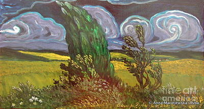 Folkartanna Painting - Windy Day by Anna Folkartanna Maciejewska-Dyba