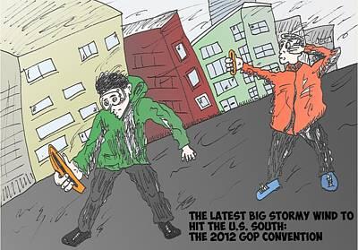 Financial Mixed Media - Windy South Editorial Cartoon by OptionsClick BlogArt