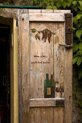 Wine A Bit Door Art Print by Sally Weigand