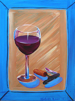 Wine And Cork Art Print by Michael Baum