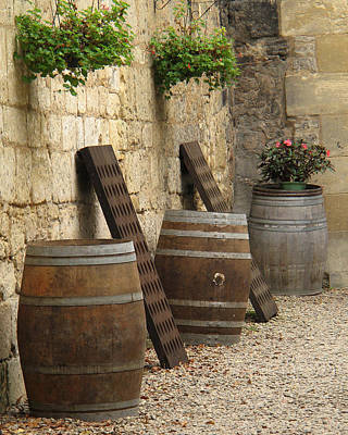 Wine Barrels And Racks In Saint Emilion France Art Print by Greg Matchick