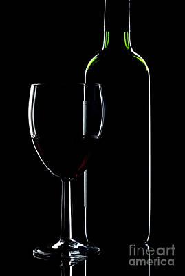 Wine Bottle And Glass Art Print by Richard Thomas