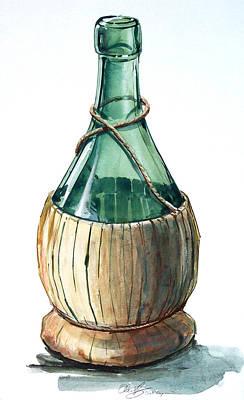 Wine Bottle Art Print by Olin  McKay