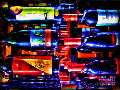 Wine Bottles Art Print by Joan  Minchak