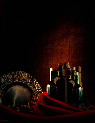 Wine Bottles Digital Art - Wine Break by Lourry Legarde