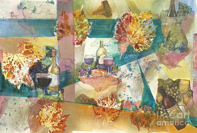 Wine Collage Art Print by Midge Lilja
