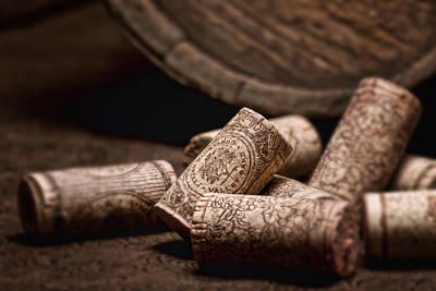 Wine Stopper Photograph - Wine Corks And Barrel Still Life by Tom Mc Nemar