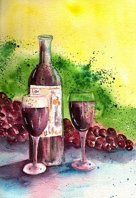 Glass Of Wine Painting - Wine For Two - 2 by Sharon Mick