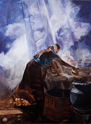 Nepali Painting - Wine Making by Anita  Maharjan
