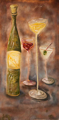 Martini Paintings - Wine or Martini? by Chuck Gebhardt