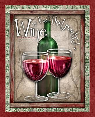 Wine Poetry Art Print by Sharon Marcella Marston
