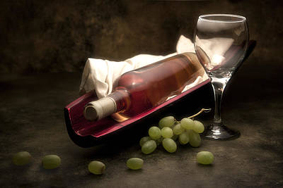 Stem Photograph - Wine With Grapes And Glass Still Life by Tom Mc Nemar
