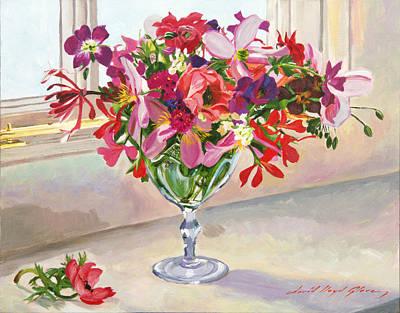 Kitchen Window Painting - Wineglass Arrangement by David Lloyd Glover
