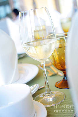 Buffet Photograph - Wineglass by Atiketta Sangasaeng