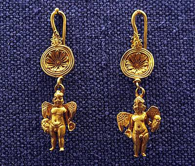 Gold Earrings Photograph - Winged Erotes by Andonis Katanos