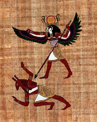Painting - Winged Horus Defeating Set by Pet Serrano