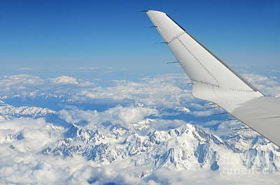 Wings Of Flying Airplane Over French Alps Art Print by Sami Sarkis