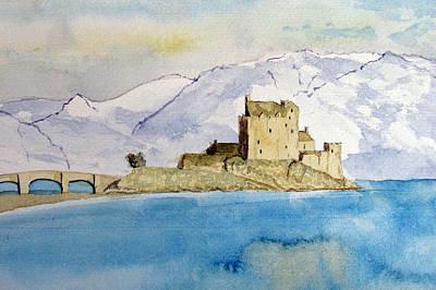 Mystical Landscape Painting - Winter At Eilean Donan Castle by Louise Grant