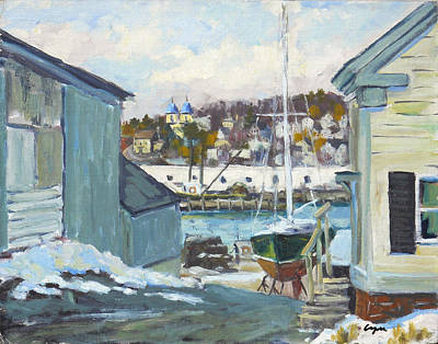 Winter At Gloucester Harbor Original