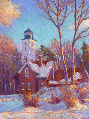 Winter At The Lighthouse Print by Michael Camp