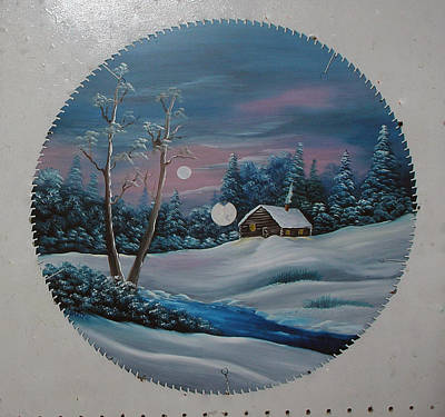 Saw Blades Painting - Winter At The Log Cabin by Darlene Prowell