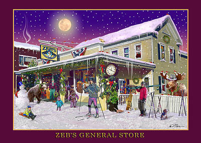Winter At Zebs General Store In North Conway Nh Art Print