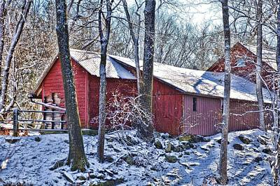 Winter Barn Art Print by Nancy Rohrig