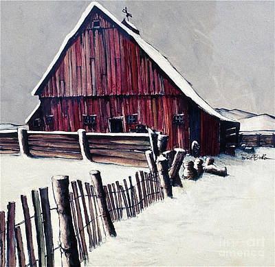 Red Barn In Winter Painting - Winter Barn by Robert Birkenes