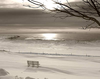 Photograph - Winter Beach Morning Bw by Bill Pevlor