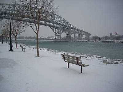 Mixed Media - Winter Benches At The Bluewater Bridges Sarnia by Bruce Ritchie