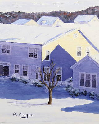 Snowscape Painting - Winter Blanket by Alan Mager
