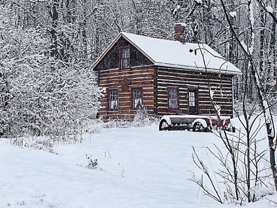Art Print featuring the photograph Winter Cabin by Judy  Johnson