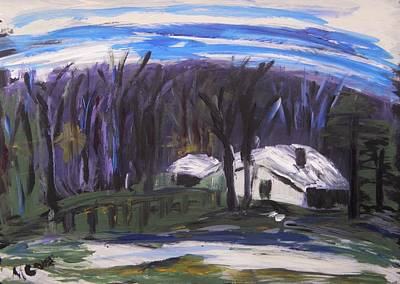 Primitive Drawing - Winter Cabin by Mary Carol Williams