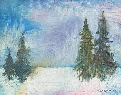 Multimedia Painting - Winter by Casey Rasmussen White