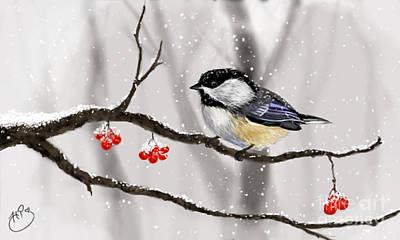 Chickadee Digital Art - Winter Chicakdee by Heather Pirnak