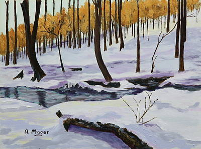 Painting - Winter Creek by Alan Mager