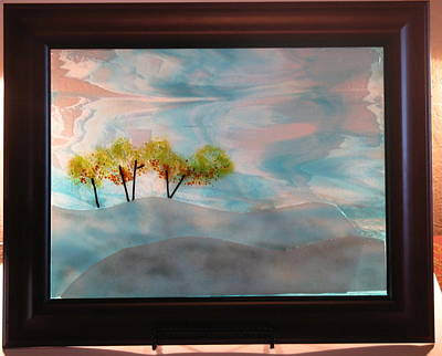 Fused Glass Glass Art - Winter Day by Lisa Kohn