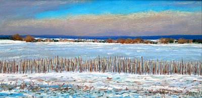 Winter Fields With Snow Fence Art Print by Bob Richey