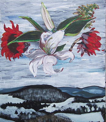 Print featuring the painting Winter Flowers by Tilly Strauss