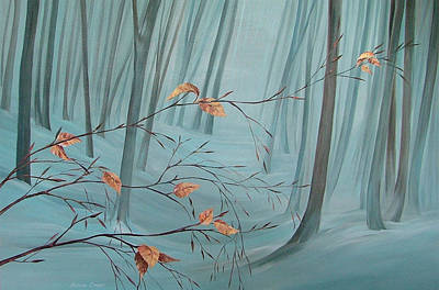 Snowy Day Painting - Winter Forest by Natasha Denger