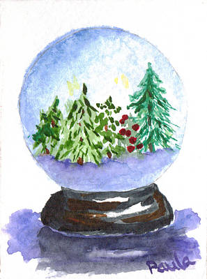 Painting - Winter Forest Snowglobe by Paula Ayers