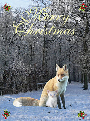 Mixed Media - Winter Fox Merry Christmas by Eric Kempson