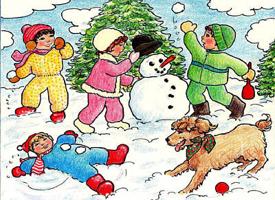 Drawing - Winter Fun by Dee Davis