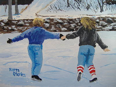 Snowscape Painting - Winter Fun by Norm Starks