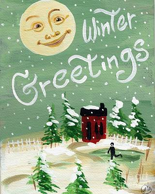 Moonface Painting - Winter Greetings by Sylvia Pimental