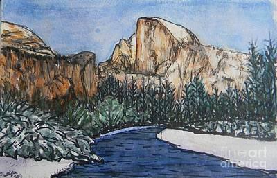 Yosemite National Park Mixed Media - Winter Half by DJ Laughlin