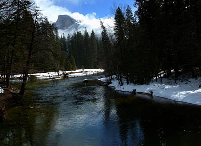 Winter Half Dome And The Merced River Art Print by Jeff Lowe